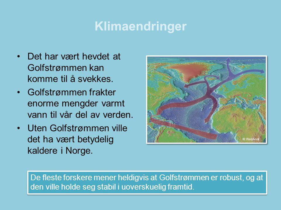 Klimaendringer Det har vært hevdet at Golfstrømmen kan komme til å svekkes. Golfstrømmen frakter enorme mengder varmt vann til vår del av verden.