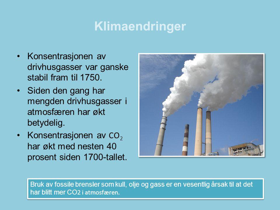 Klimaendringer Konsentrasjonen av drivhusgasser var ganske stabil fram til 1750.