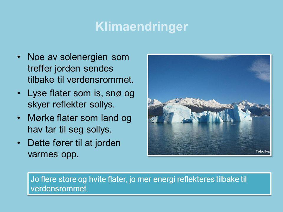 Klimaendringer Noe av solenergien som treffer jorden sendes tilbake til verdensrommet. Lyse flater som is, snø og skyer reflekter sollys.