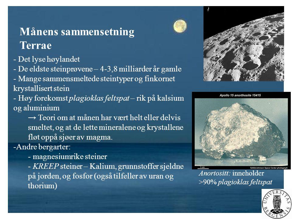 Månens sammensetning Terrae Det lyse høylandet