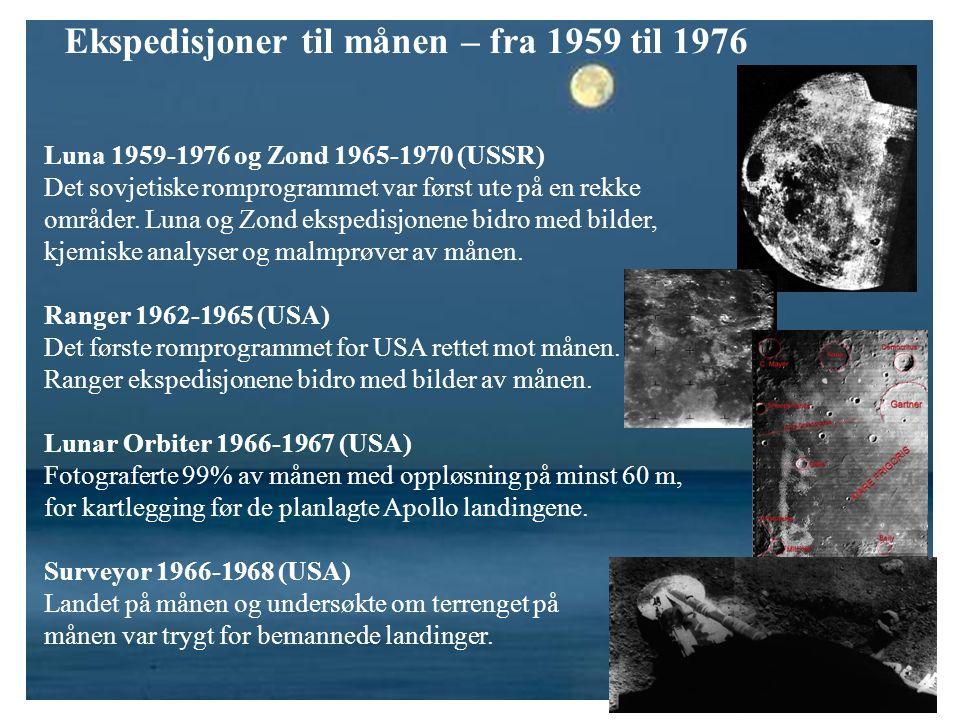 Ekspedisjoner til månen – fra 1959 til 1976