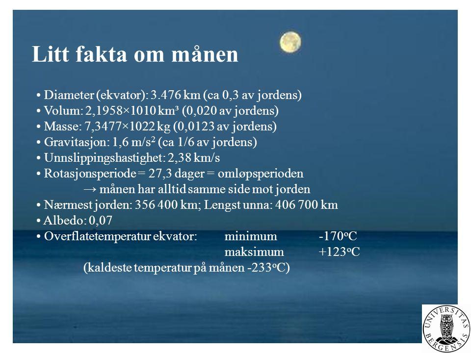 Litt fakta om månen Diameter (ekvator): 3.476 km (ca 0,3 av jordens)