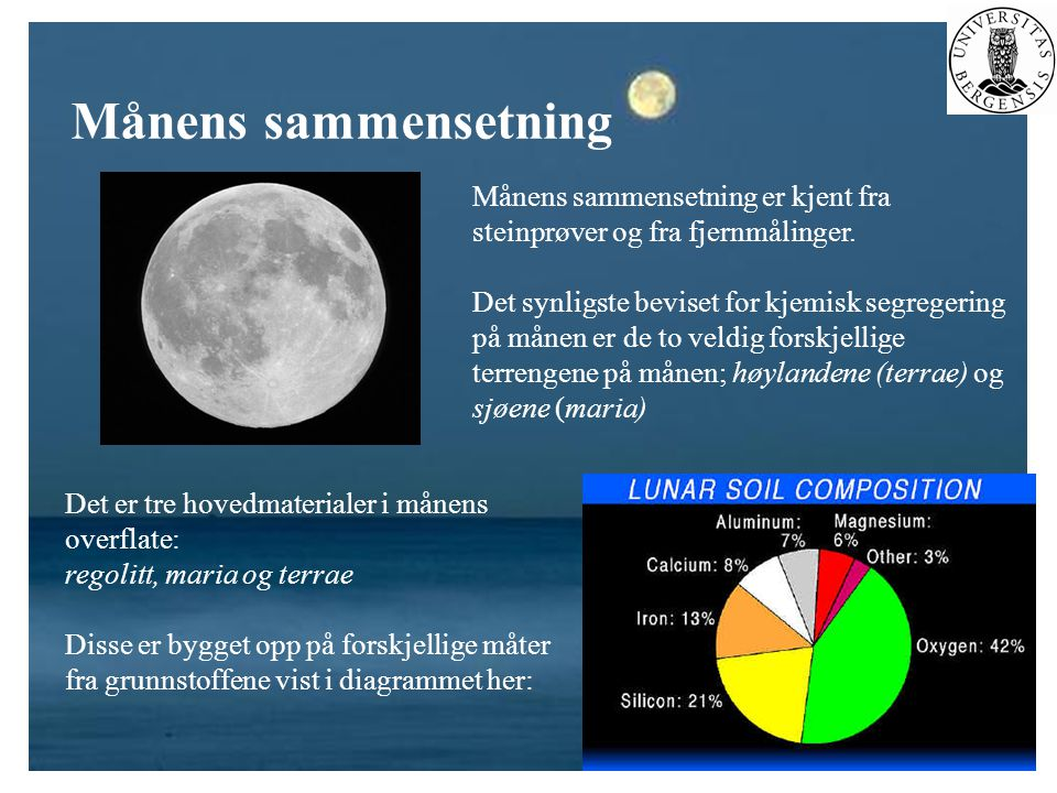 Månens sammensetning Månens sammensetning er kjent fra steinprøver og fra fjernmålinger.