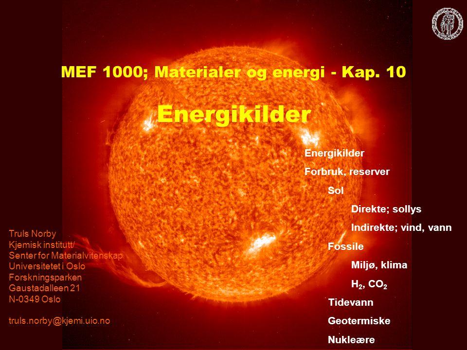 MEF 1000; Materialer og energi - Kap. 10 Energikilder