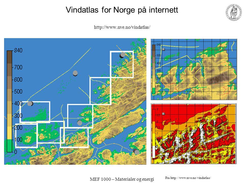 Vindatlas for Norge på internett http://www.nve.no/vindatlas/