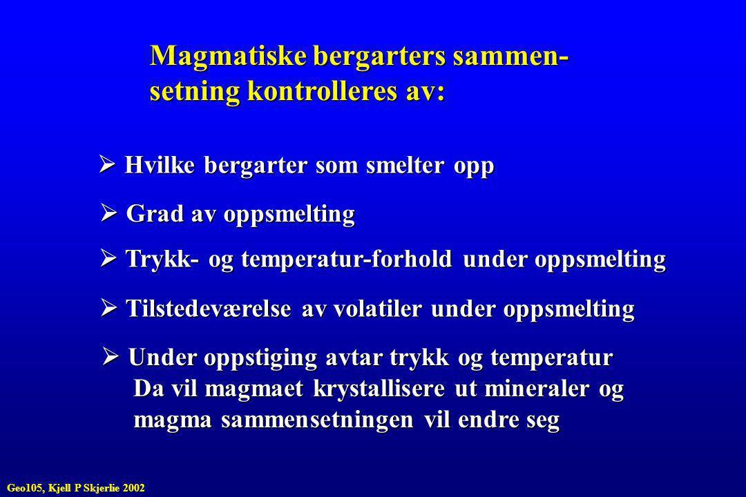 Magmatiske bergarters sammen- setning kontrolleres av:
