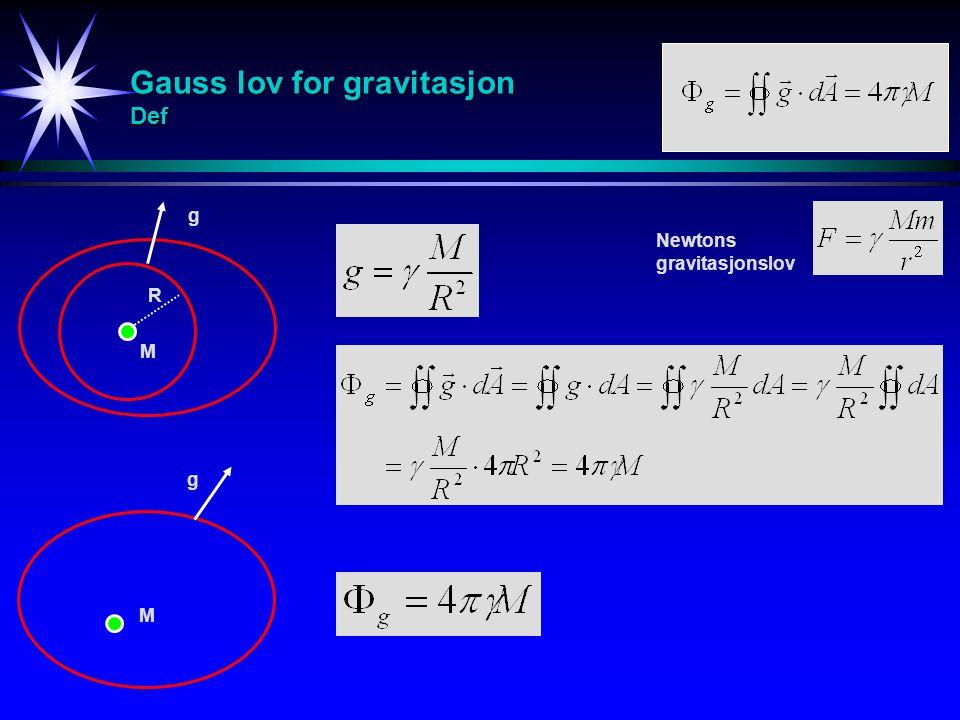 Gauss lov for gravitasjon Def