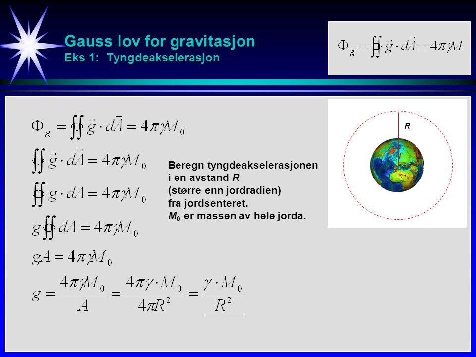 Gauss lov for gravitasjon Eks 1: Tyngdeakselerasjon