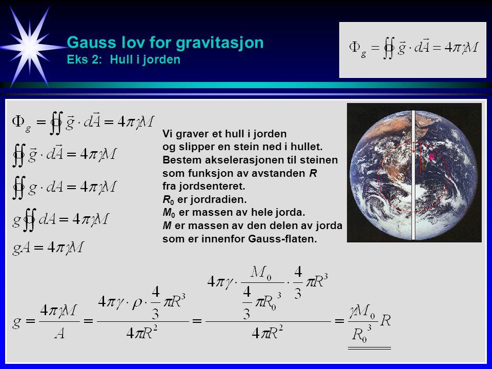 Gauss lov for gravitasjon Eks 2: Hull i jorden