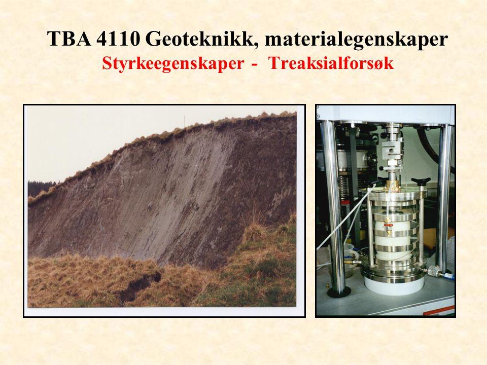 TBA 4110 Geoteknikk, materialegenskaper Styrkeegenskaper - Treaksialforsøk