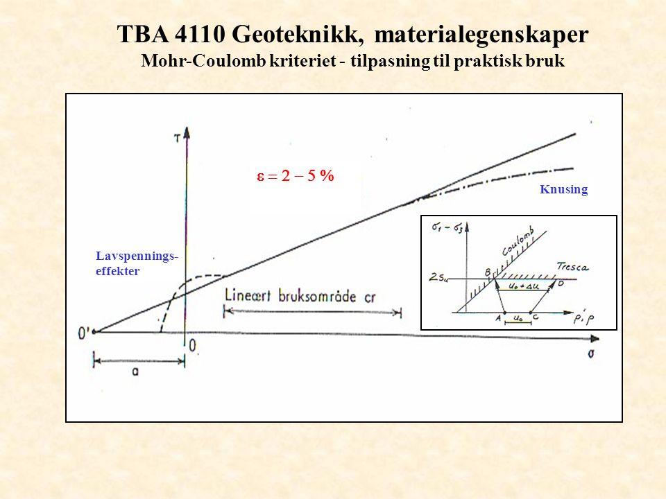 TBA 4110 Geoteknikk, materialegenskaper Mohr-Coulomb kriteriet - tilpasning til praktisk bruk