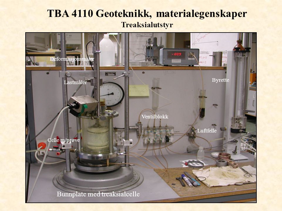 TBA 4110 Geoteknikk, materialegenskaper Treaksialutstyr