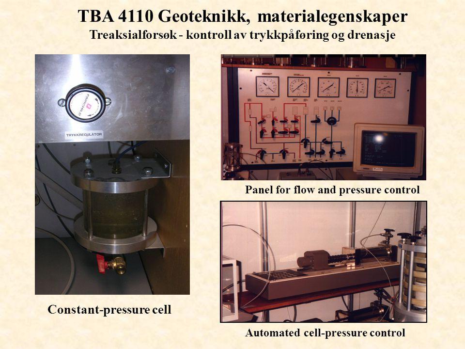 TBA 4110 Geoteknikk, materialegenskaper Treaksialforsøk - kontroll av trykkpåføring og drenasje