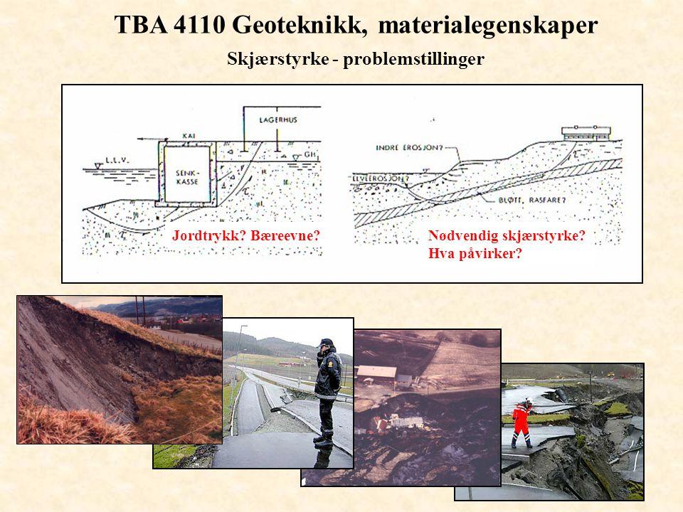 TBA 4110 Geoteknikk, materialegenskaper Skjærstyrke - problemstillinger