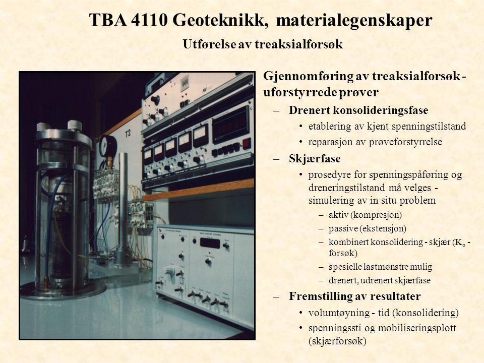 TBA 4110 Geoteknikk, materialegenskaper Utførelse av treaksialforsøk
