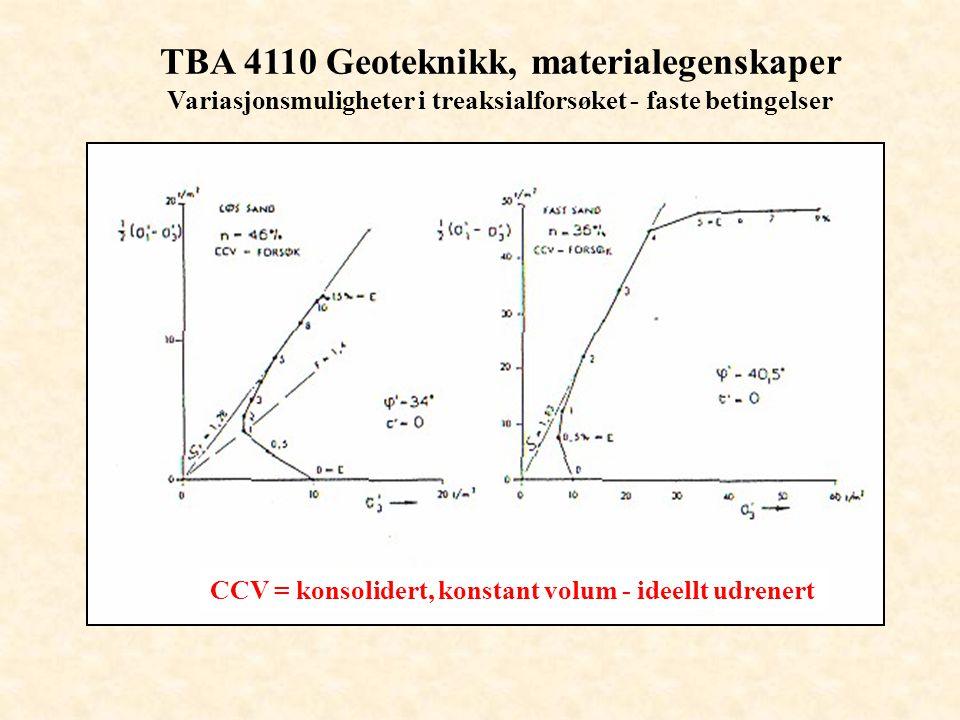 TBA 4110 Geoteknikk, materialegenskaper Variasjonsmuligheter i treaksialforsøket - faste betingelser