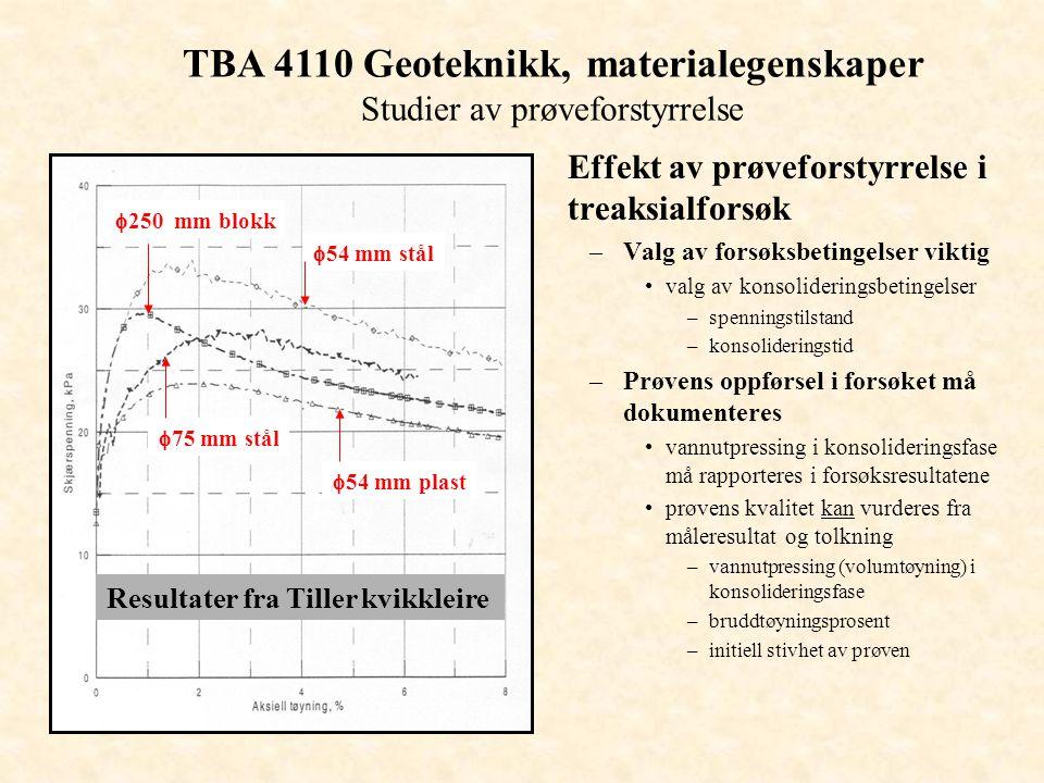 TBA 4110 Geoteknikk, materialegenskaper Studier av prøveforstyrrelse