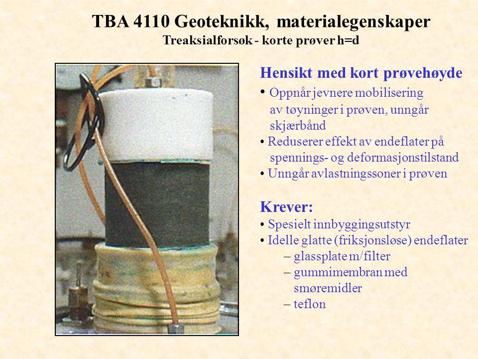 TBA 4110 Geoteknikk, materialegenskaper Treaksialforsøk - korte prøver h=d