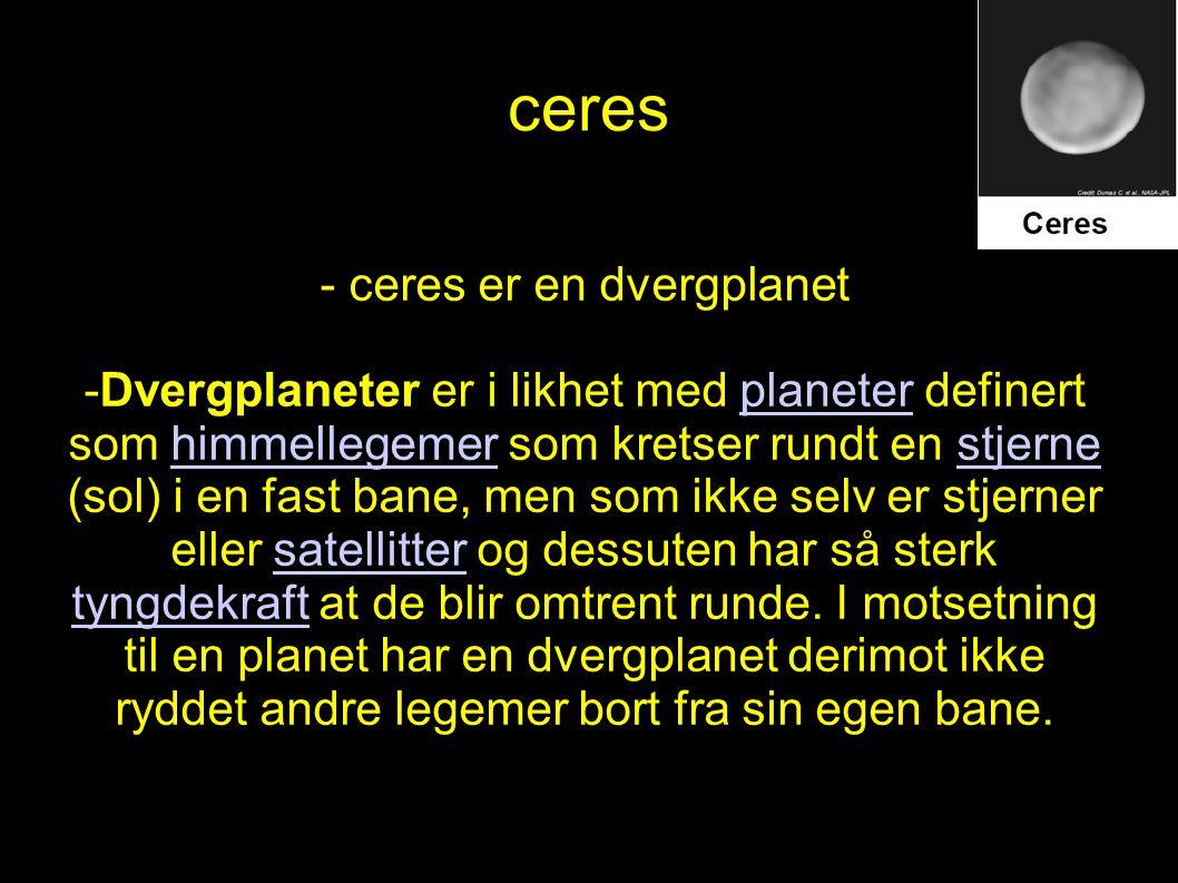 - ceres er en dvergplanet