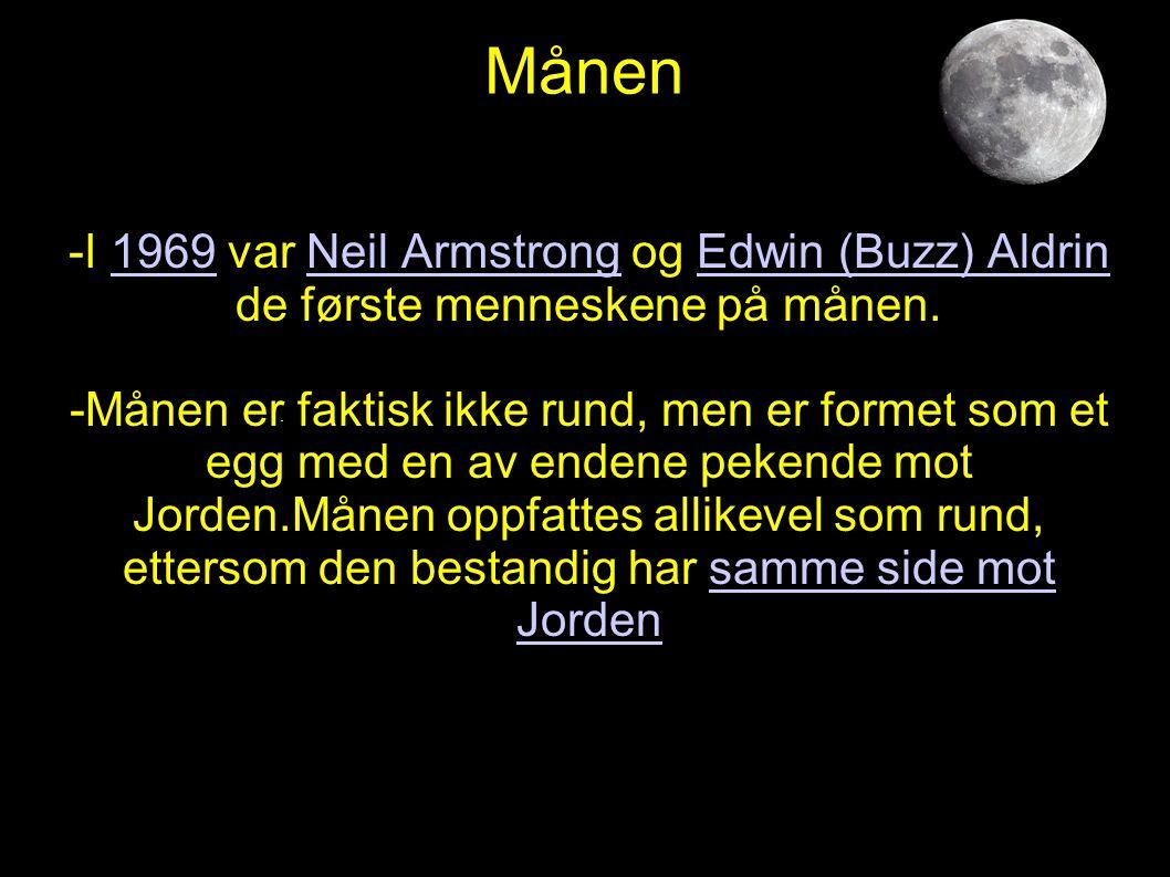 Månen -I 1969 var Neil Armstrong og Edwin (Buzz) Aldrin de første menneskene på månen.