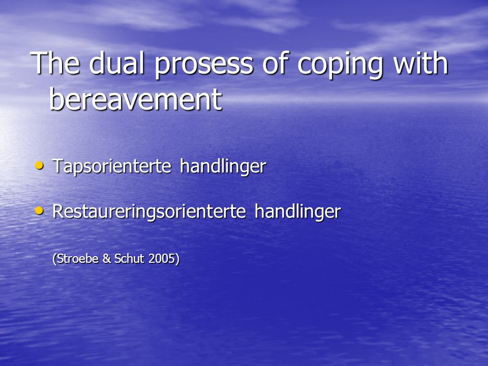 The dual prosess of coping with bereavement