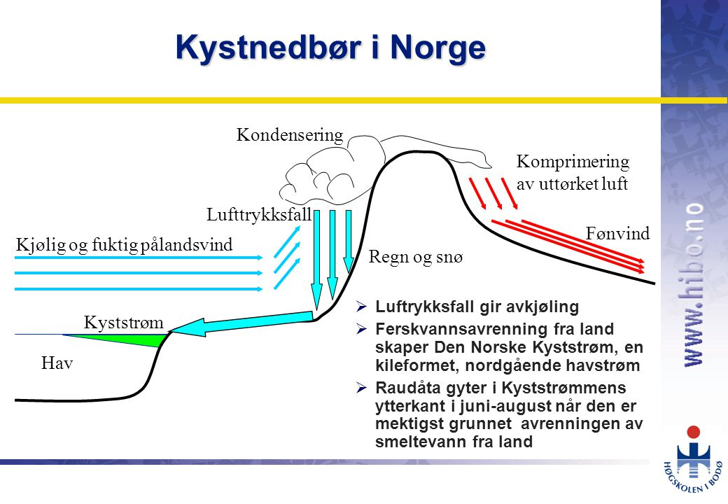 Kystnedbør i Norge Kondensering Komprimering av uttørket luft