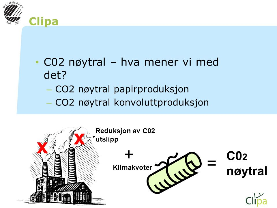 x + = C02 nøytral Clipa C02 nøytral – hva mener vi med det