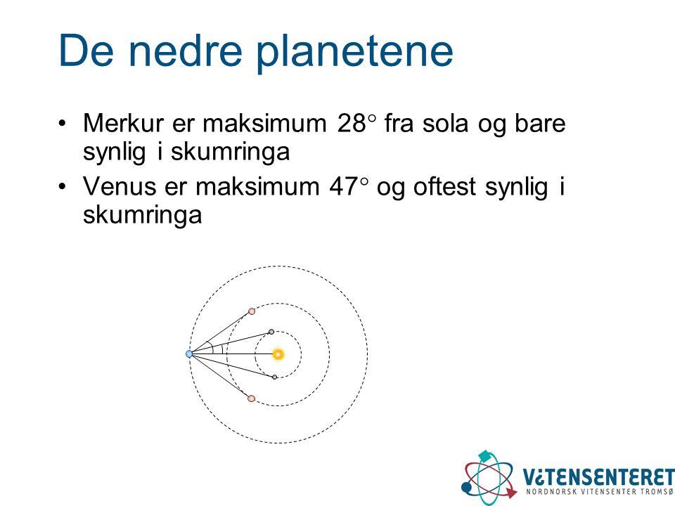 De nedre planetene Merkur er maksimum 28 fra sola og bare synlig i skumringa. Venus er maksimum 47 og oftest synlig i skumringa.