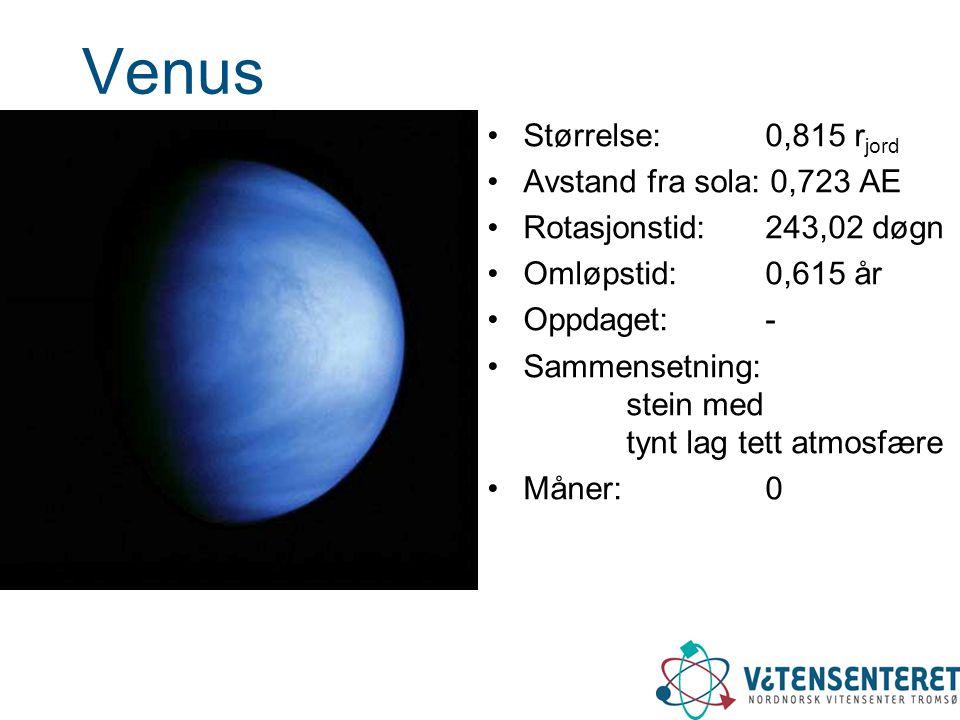 Venus Størrelse: 0,815 rjord Avstand fra sola: 0,723 AE