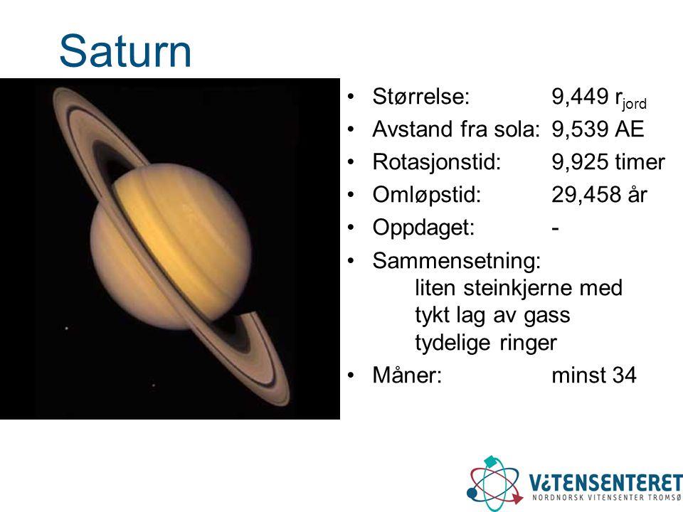 Saturn Størrelse: 9,449 rjord Avstand fra sola: 9,539 AE