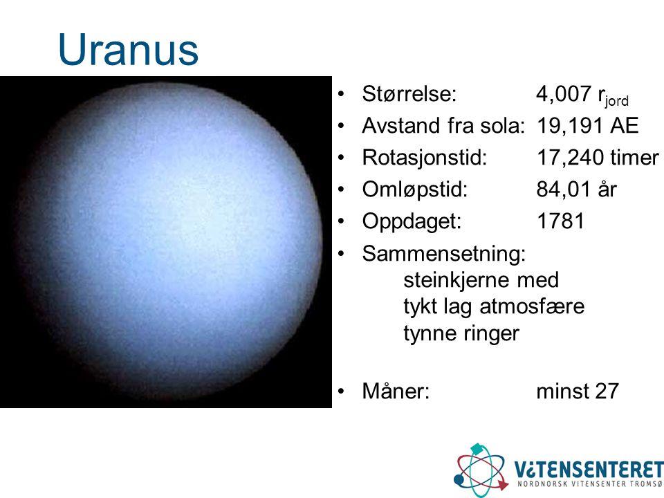 Uranus Størrelse: 4,007 rjord Avstand fra sola: 19,191 AE
