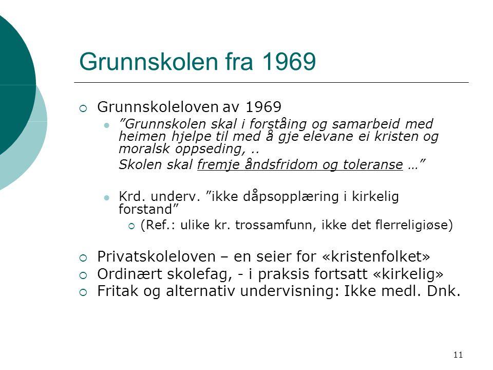 Grunnskolen fra 1969 Grunnskoleloven av 1969