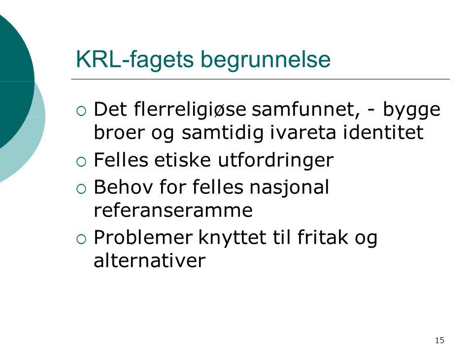 KRL-fagets begrunnelse