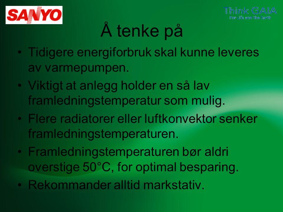 Å tenke på Tidigere energiforbruk skal kunne leveres av varmepumpen.