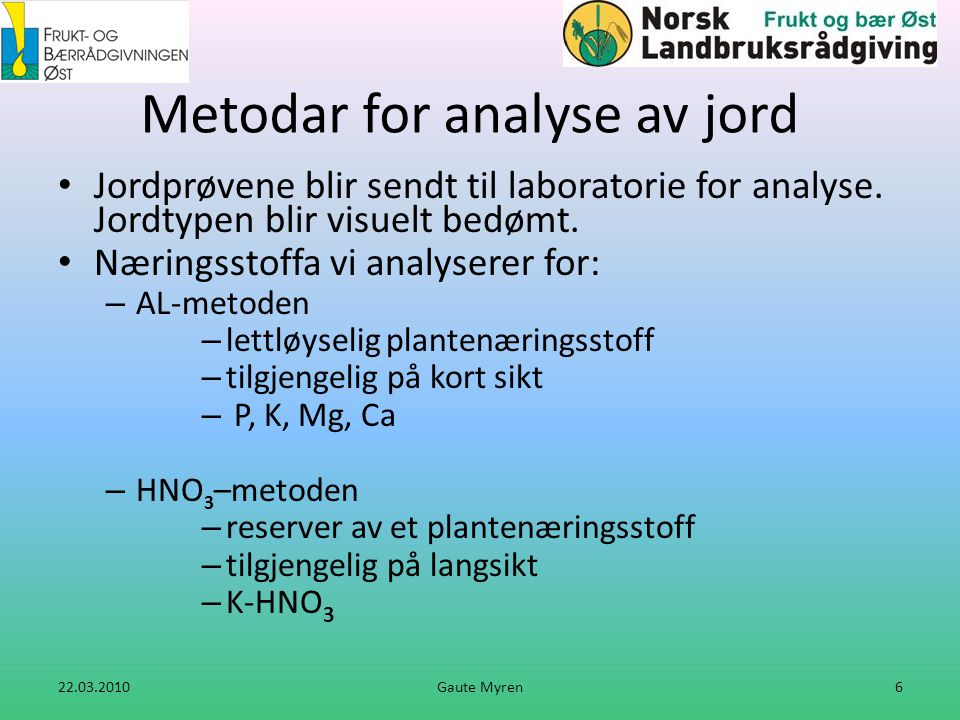 Metodar for analyse av jord