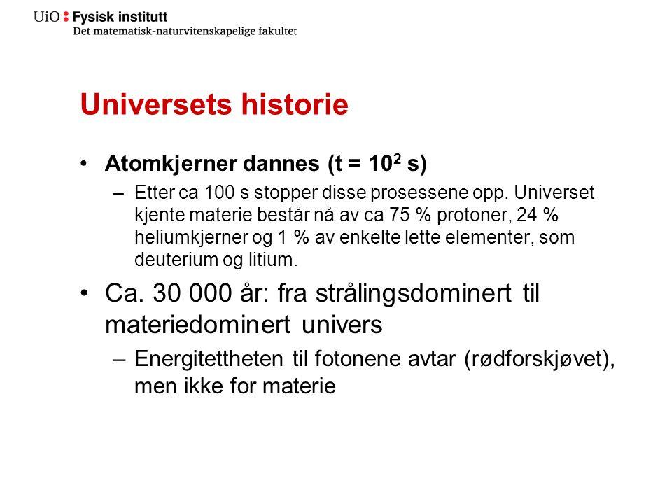 Universets historie Atomkjerner dannes (t = 102 s)