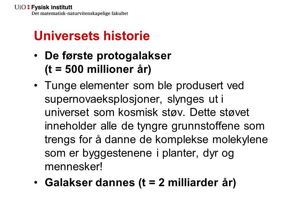 Universets historie De første protogalakser (t = 500 millioner år)