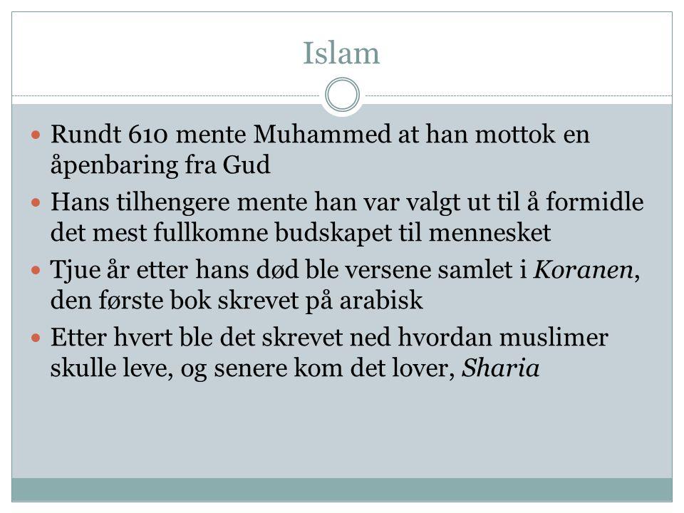 Islam Rundt 610 mente Muhammed at han mottok en åpenbaring fra Gud