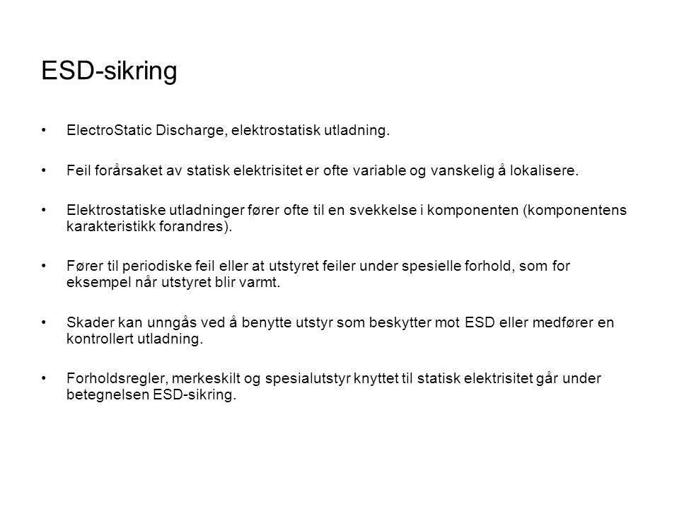 ESD-sikring ElectroStatic Discharge, elektrostatisk utladning.