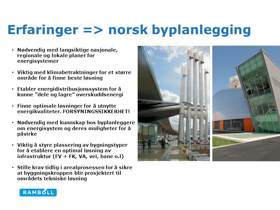 Erfaringer => norsk byplanlegging