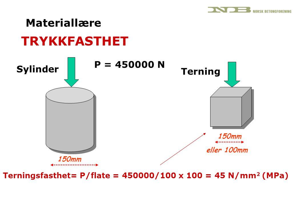 TRYKKFASTHET Materiallære P = 450000 N Sylinder Terning