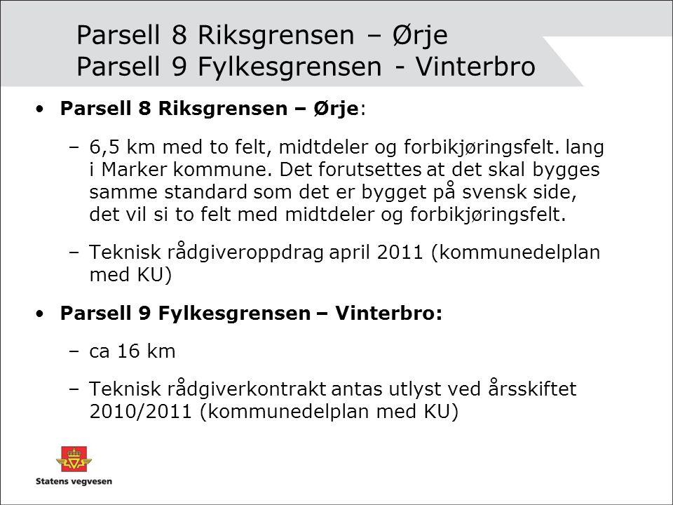 Parsell 8 Riksgrensen – Ørje Parsell 9 Fylkesgrensen - Vinterbro