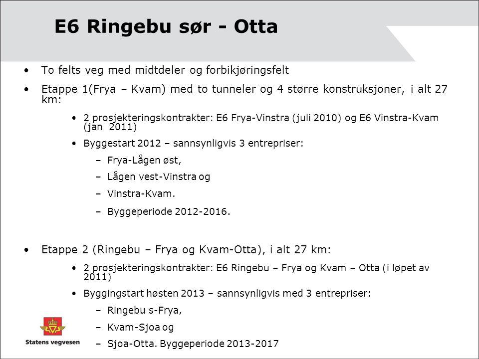 E6 Ringebu sør - Otta To felts veg med midtdeler og forbikjøringsfelt
