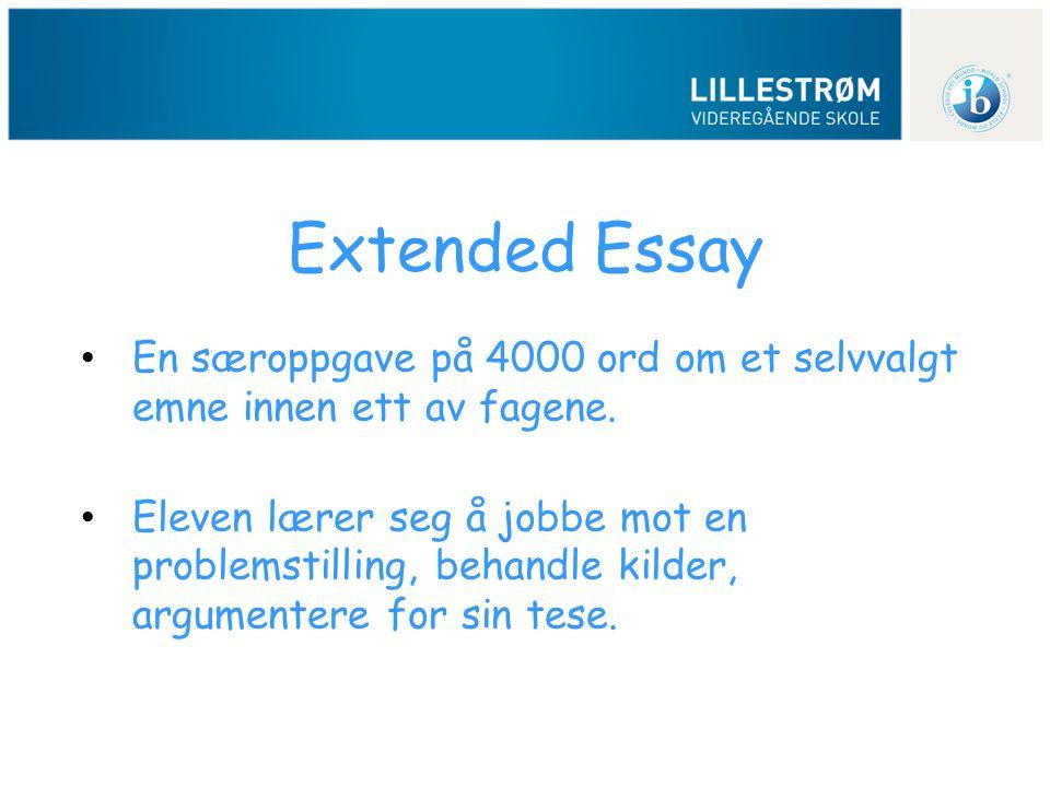 Extended Essay En særoppgave på 4000 ord om et selvvalgt emne innen ett av fagene.