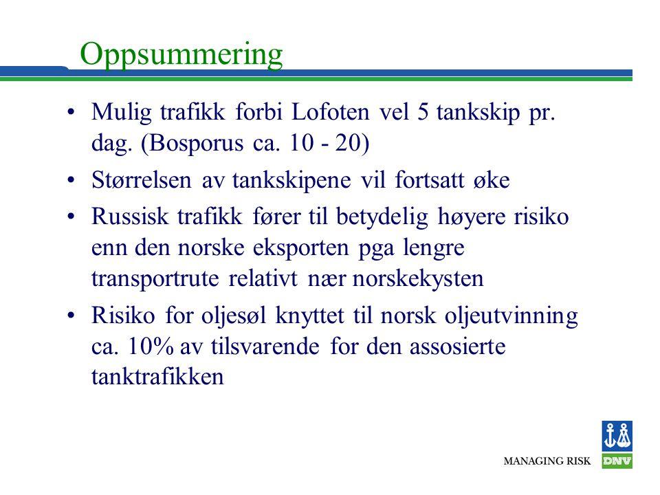 Oppsummering Mulig trafikk forbi Lofoten vel 5 tankskip pr. dag. (Bosporus ca. 10 - 20) Størrelsen av tankskipene vil fortsatt øke.