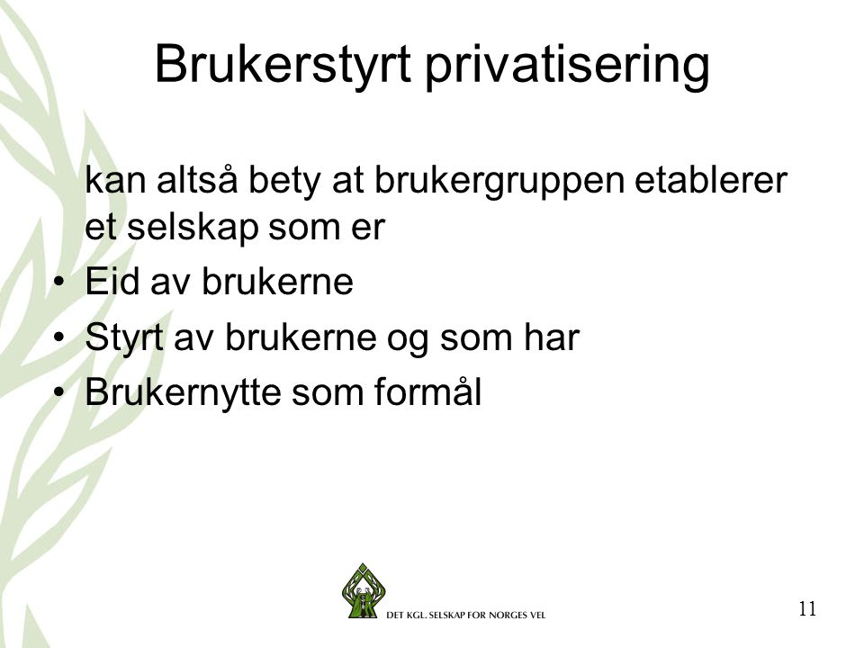 Brukerstyrt privatisering