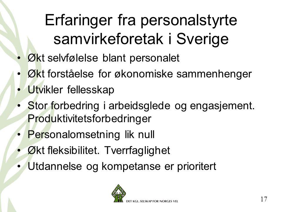 Erfaringer fra personalstyrte samvirkeforetak i Sverige