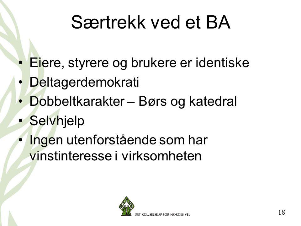 Særtrekk ved et BA Eiere, styrere og brukere er identiske