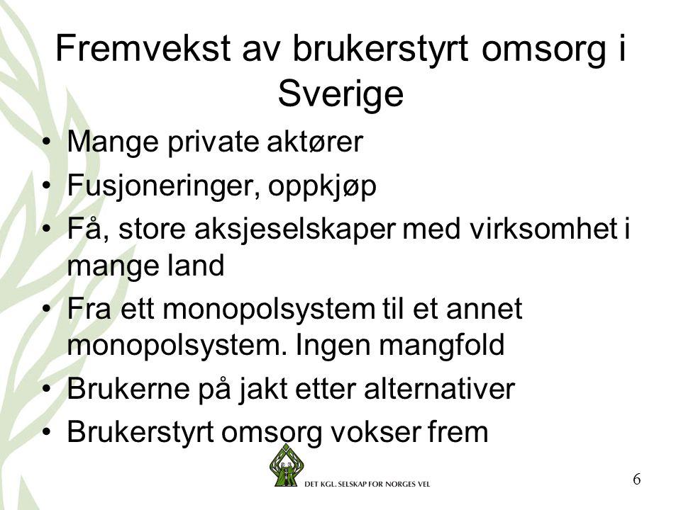 Fremvekst av brukerstyrt omsorg i Sverige