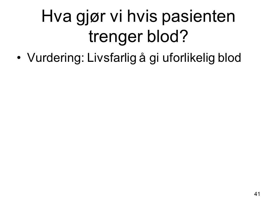 Hva gjør vi hvis pasienten trenger blod